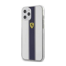 كفر Ferrari - On Track PC/TPU Hard Case with Navy Stripes for iPhone 12 Pro - أبيض