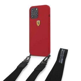 كفر Ferrari - On Track Liquid Silicone Hard Case with Removable Strap and Metal Logo for iPhone 12 Pro - أحمر