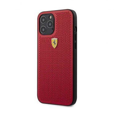 كفر Ferrari - On Track PU Leather Perforated Hard Case Metal Logo for iPhone 12 Pro - أحمر
