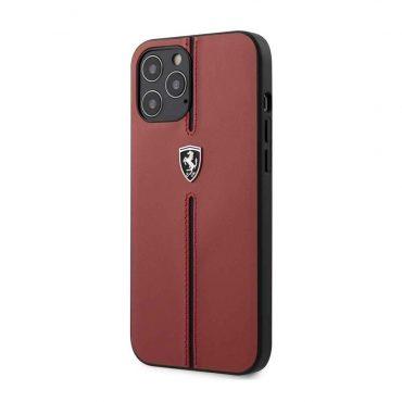 كفر Ferrari - Off Track Genuine Leather Hard Case with Contrasted Stitched Nylon Middle Stripe for iPhone 12 Pro - أحمر