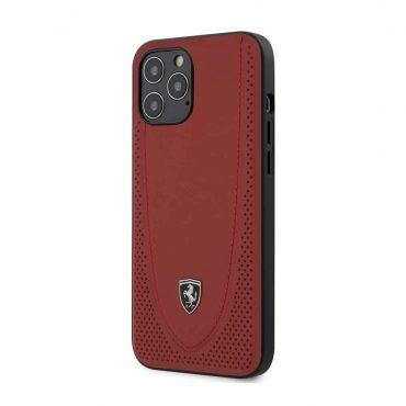 كفر Ferrari - Off Track Genuine Leather Hard Case with Curved Line Stitched and Contrasted Perforated Leather for iPhone 12 Pro Max - أحمر