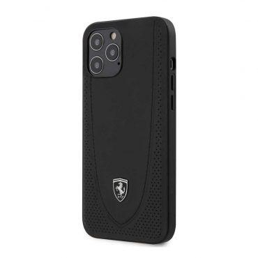 كفر Ferrari - Off Track Genuine Leather Hard Case with Curved Line Stitched and Contrasted Perforated Leather for iPhone 12 Pro Max - أسود