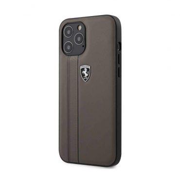 كفر Ferrari - Leather Hard Case with Embossed Lines for iPhone 12 Pro Max - بني