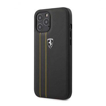 كفر Ferrari - Leather Hard Case with Embossed Lines for iPhone 12 Pro Max - رمادي