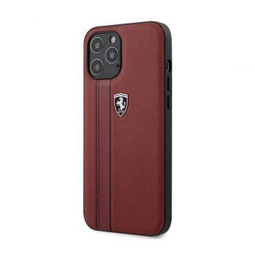 كفر Ferrari - Leather Hard Case with Embossed Lines for iPhone 12 Pro - أحمر