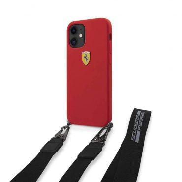 "كفر Ferrari On Track Liquid Silicone Hard Case with Removable Strap and Metal Logo for iPhone 12 Mini (5.4"") - Red"