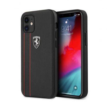 """كفر Ferrari Off Track Genuine Leather Hard Case with Contrasted Stitched and Embossed Lines for iPhone 12 Mini (5.4"""") - Black"""