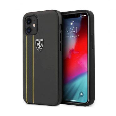 """كفر Ferrari Off Track Genuine Leather Hard Case with Contrasted Stitched and Embossed Lines for iPhone 12 Mini (5.4"""") - Dark Gray"""