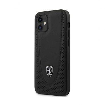 """كفر Ferrari Off Track Genuine Leather Hard Case with Curved Line Stitched and Contrasted Perforated Leather for iPhone 12 Mini (5.4"""") - Dark Gray"""