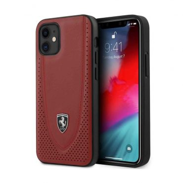 """كفر Ferrari Off Track Genuine Leather Hard Case with Curved Line Stitched and Contrasted Perforated Leather for iPhone 12 Mini (5.4"""") - Red"""