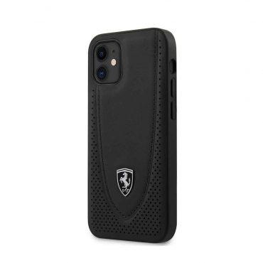 """كفر Ferrari Off Track Genuine Leather Hard Case with Curved Line Stitched and Contrasted Perforated Leather for iPhone 12 Mini (5.4"""") - Black"""