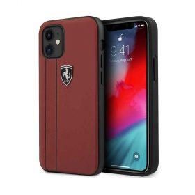 """كفر Ferrari Off Track Genuine Leather Hard Case with Contrasted Stitched and Embossed Lines for iPhone 12 Mini (5.4"""") - Red"""