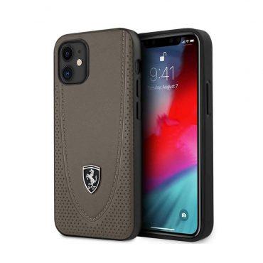"""كفر Ferrari Off Track Genuine Leather Hard Case with Curved Line Stitched and Contrasted Perforated Leather for iPhone 12 Mini (5.4"""") - Brown"""