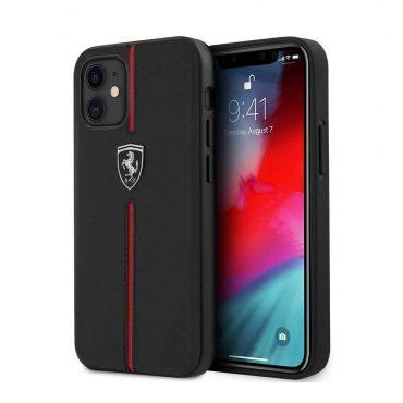 """كفر Ferrari Off Track Genuine Leather Hard Case with Contrasted Stitched Nylon Middle Stripe for iPhone 12 Mini (5.4"""") - Black"""