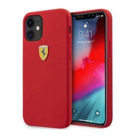 "كفر Ferrari On Track Liquid Silicone Case Metal Logo for iPhone 12 Mini (5.4"") - Red"