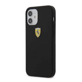 """كفر Ferrari On Track Liquid Silicone Case Metal Logo for iPhone 12 Mini (5.4"""") - Black"""