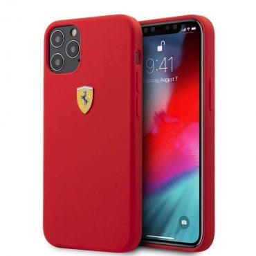 "كفر Ferrari On Track Liquid Silicone Case Metal Logo for iPhone 12 / 12 Pro (6.1"") - Red"