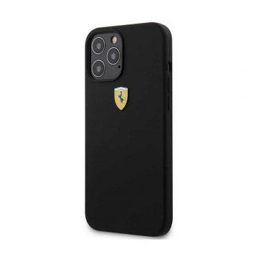 "كفر Ferrari On Track Liquid Silicone Case Metal Logo for iPhone 12 / 12 Pro (6.1"") - Black"