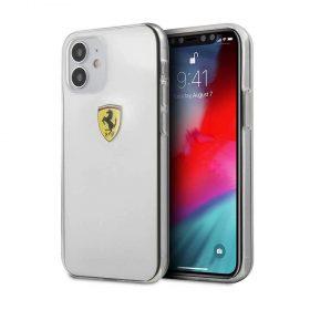 """كفر Ferrari On Track Hard Case Printed Logo Shield for iPhone 12 Mini (5.4"""") - Transparent"""