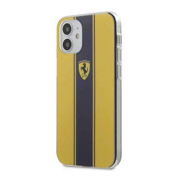 "كفر Ferrari On Track PC/TPU Hard Case with Navy Stripes for iPhone 12 Mini (5.4"") - Yellow"