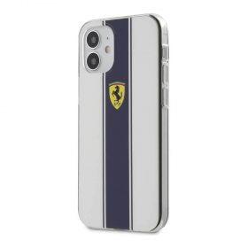 """كفر Ferrari On Track PC/TPU Hard Case with Navy Stripes for iPhone 12 Mini (5.4"""") - White"""