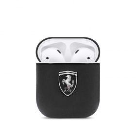 محفظة سماعات Ferrari PC Leather Black Shield Metal Logo for Airpods 1/2 - Black