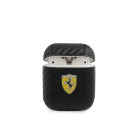 محفظة سماعات Ferrari PC PU Carbon Yellow Shield Metal Logo Case for Airpods 1/2 - Black