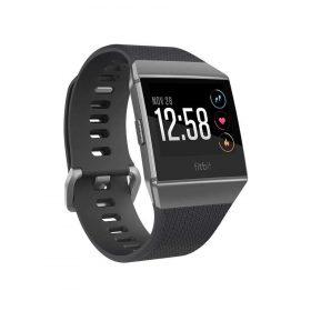 سوار المعصم الرياضي ionic مع متتبع ضربات القلب من Fitbit - فحمي/ رمادي دخاني (مقاس S/L)