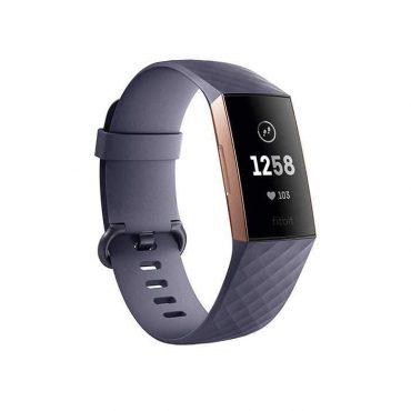 سوار المعصم الرياضي Charge 3 مع متتبع ضربات القلب من Fitbit – ذهبي وردي/ رمادي