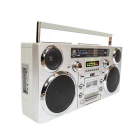 راديو كلاسيكي GPO Retro Brooklyn Bluetooth Boombox  - فضي