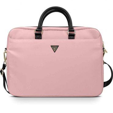 "حقيبة اللابتوب Guess Nylon Computer Bag with Metal Triangle Logo 15"" - Light Pink"