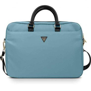 "حقيبة اللابتوب Guess Nylon Computer Bag with Metal Triangle Logo 15"" - Light Blue"