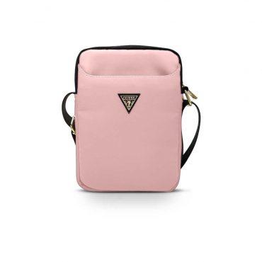 "حقيبة التابلت Guess Nylon Tablet Bag with Metal Triangle Logo 10"" - Light Pink"