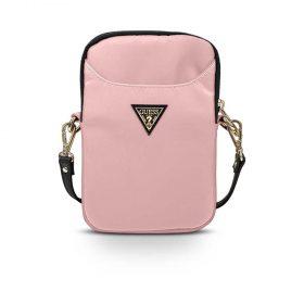 حقيبة الموبايل  Guess Nylon Phone Bag with Metal Triangle Logo - Light Pink