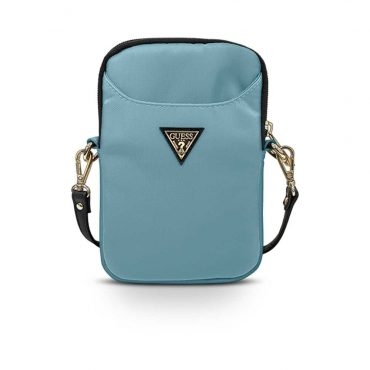 حقيبة الموبايل Guess Nylon Phone Bag with Metal Triangle Logo - Light Blue