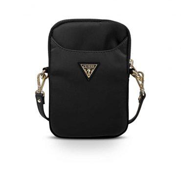 حقيبة الموبايل Guess Nylon Phone Bag with Metal Triangle Logo - Black