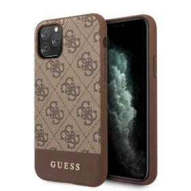 كفر PC/TPU 4G PU Case with Stripe Metal Logo Bottom iPhone 11 Pro Guess - بني