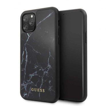 كفر زجاجي Marble Collection PC/TPU Tempered Glass Case iPhone 11 Guess - أسود