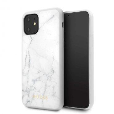 كفر زجاجي Marble Collection PC/TPU Tempered Glass Case iPhone 11 Guess - أبيض