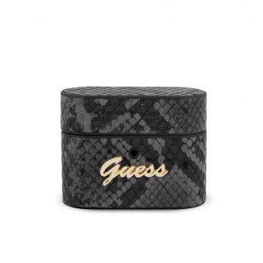 كفر آيربودز برو Guess PU Python Round Shape Case with Metal Logo - أسود