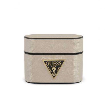 كفر آيربودز برو Guess PU Saffiano Round Shape Case with Metal Logo - بيج