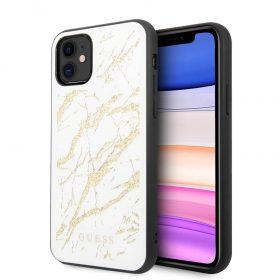 كفر Guess - PC/TPU Layer Gold Glitter Marble Case for iPhone 11 - أبيض