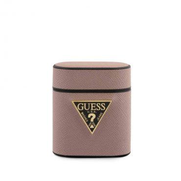 كفر آيربودز Guess PU Saffiano Round Shape Case with Metal Logo Airpods ½ - وردي