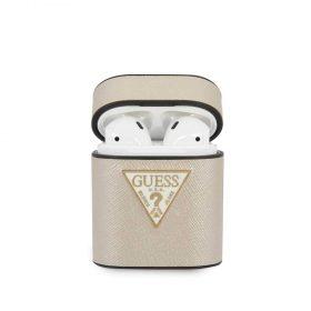 كفر آيربودز Guess PU Saffiano Round Shape Case with Metal Logo Airpods ½ - بيج