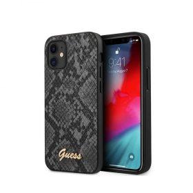"""كفر Guess PU Python Pattern Case w/ Metal Logo for iPhone 12 Mini (5.4"""") - Black"""