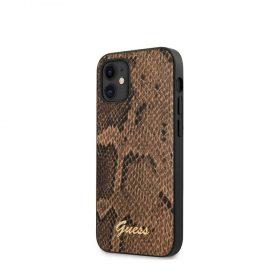 "كفر Guess PU Python Print Case w/ Metal Logo for iPhone 12 Mini (5.4"") - Brown"