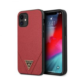 "كفر Guess PU Saffiano V Stitched w/ Metal Logo Case for iPhone 12 Mini (5.4"") - Red"