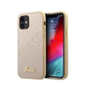 """كفر Guess PU Iridescent ``LOVE`` Debossed Case w/ Metal Logo for iPhone 12 Mini (5.4"""") - Light Gold"""