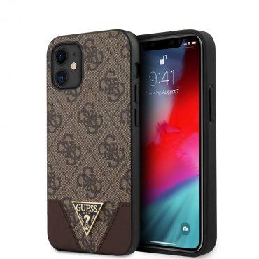 "كفر Guess 4G PU Contrast Hard Case for iPhone 12 Mini (5.4"") - Brown"