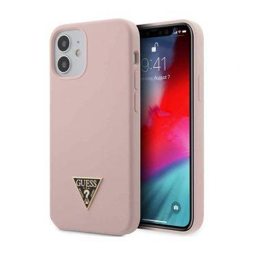 "كفر Guess Liquid SIlicone Case w/ Metal Logo for iPhone 12 Mini (5.4"") - Pink"